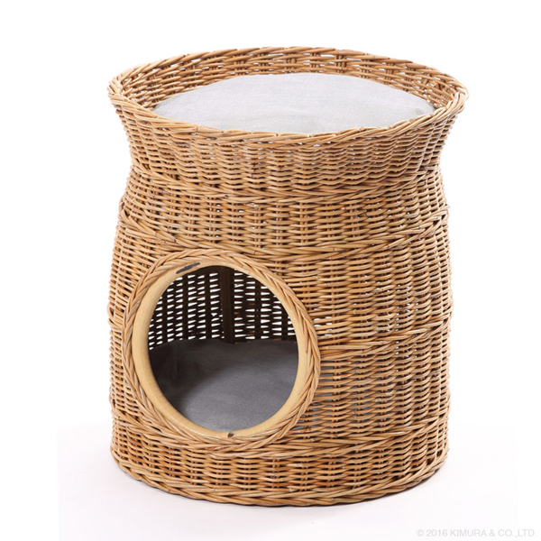 【Natural rattan シリーズ 材料に皮付のラタンを使用して自然の風合いを味わえるペットハウス】ラタン ペットハウス GK132MER