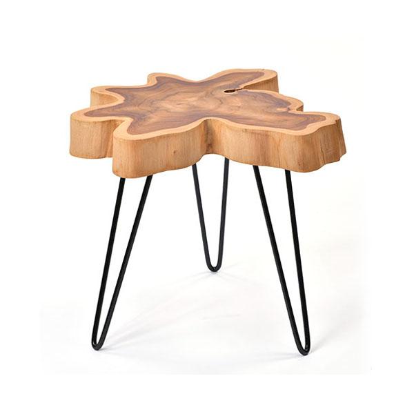 【@CBi(アクビィ)】チーク無垢材 サイドテーブル AZT005