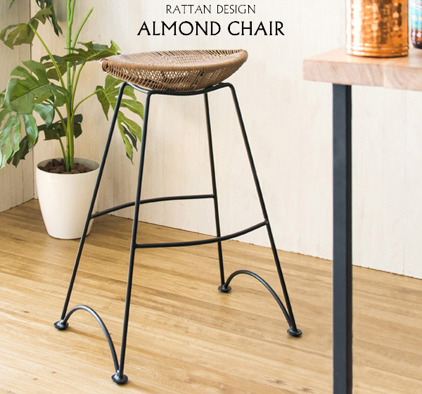 アーモンド形の座面が印象的なデザインバーチェア アーモンドチェア PCX-022
