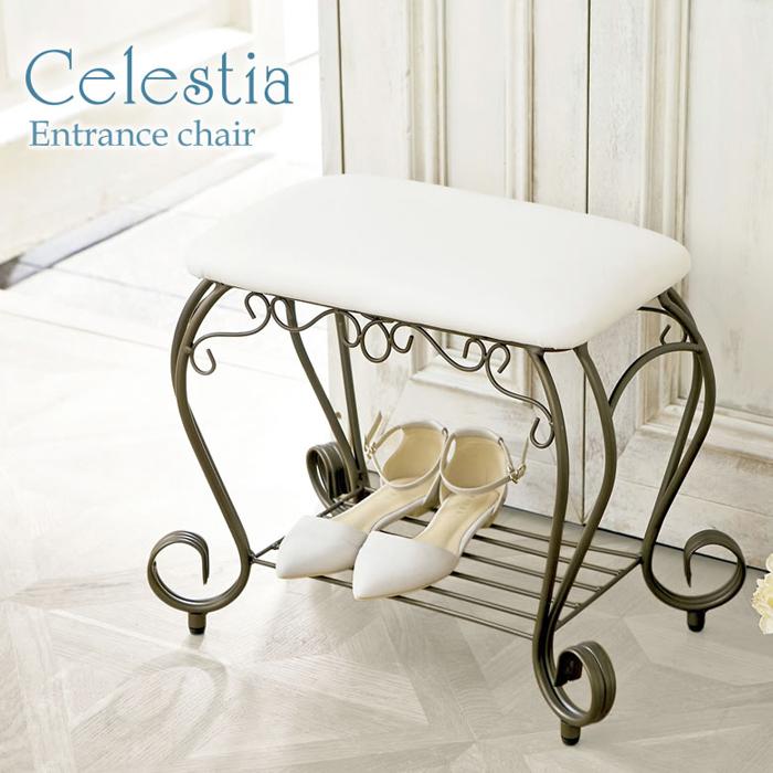【曲線をあしらった装飾の洗練されたデザイン、心地よさを醸し出すアンティークゴールドが人気】Celestia(セレスティア) エントランスチェア BCW-5030