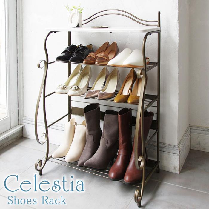 【曲線をあしらった装飾の洗練されたデザイン、心地よさを醸し出すアンティークゴールドが人気】Celestia(セレスティア) シューズラック SR-620